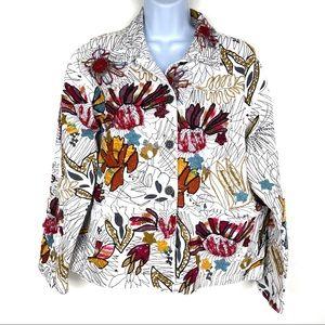 CHICO'S Sz 2 White Denim Embroidered Artsy Jacket
